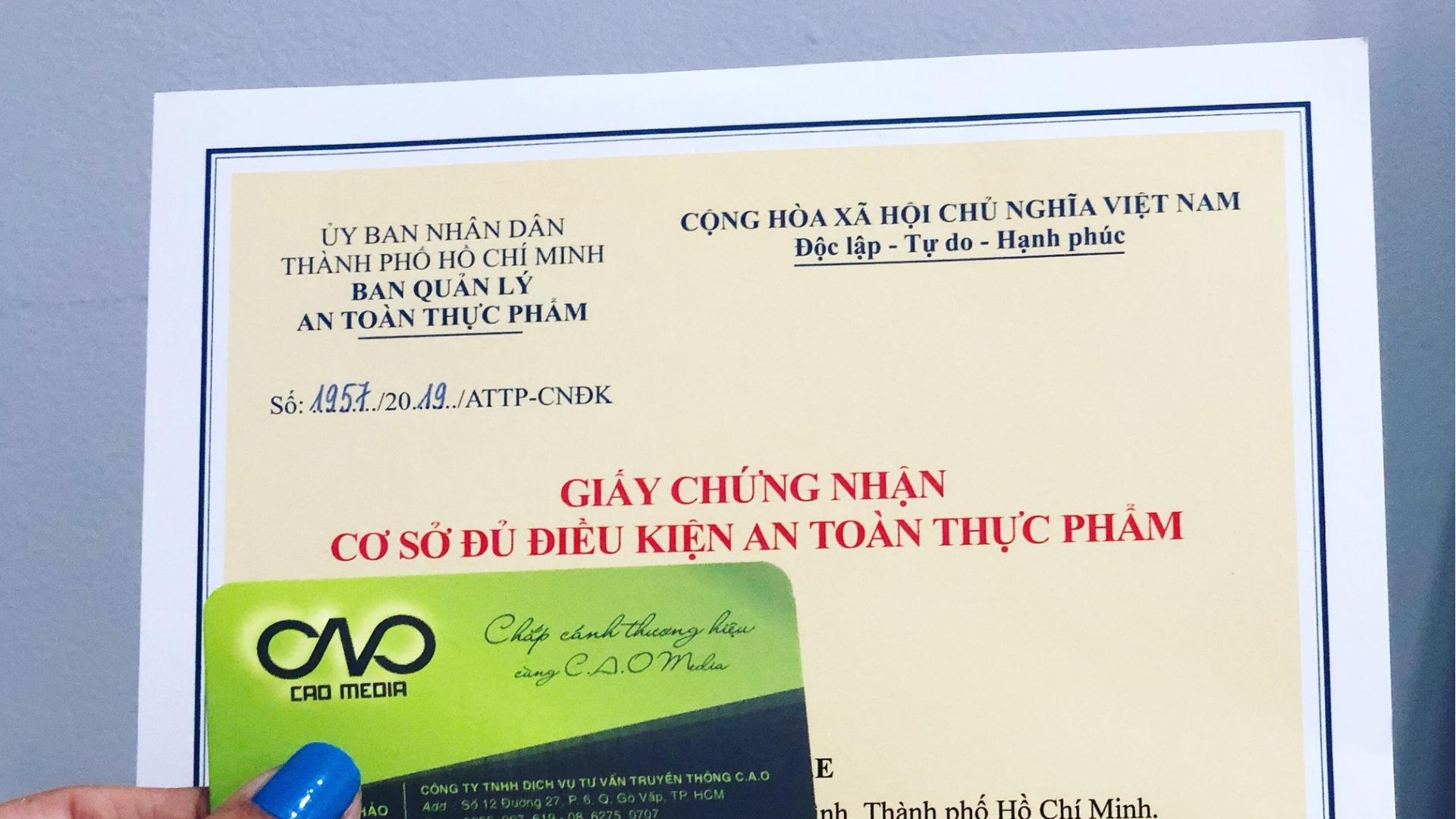 Xin giấy chứng nhận an toàn thực phẩm khó hay dễ