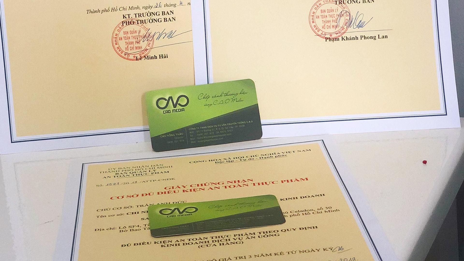 Đăng ký cấp giấy chứng nhận cơ sở đủ điều kiện an toàn thực phẩm