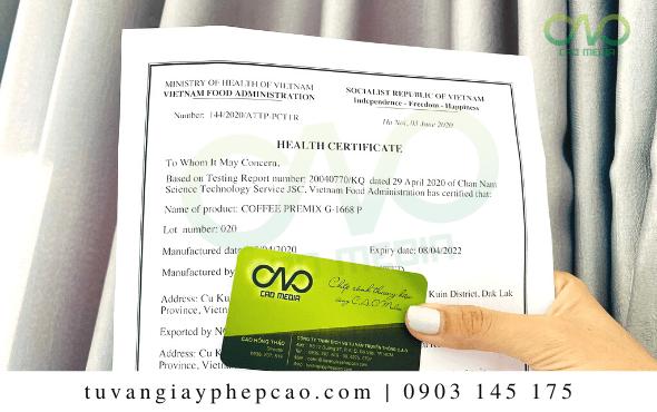 Xin giấy chứng nhận health certificate tinh bột nghệ